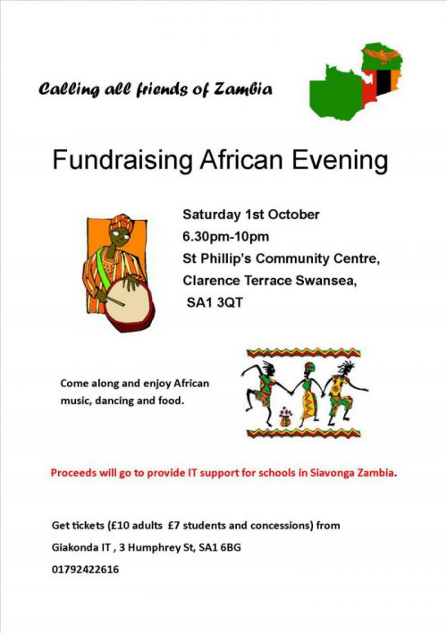 Poster for Fundraising African Evening Giakonda Solar Schools