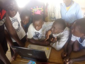 pupils on laptop