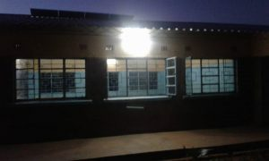 outside view of school lit up
